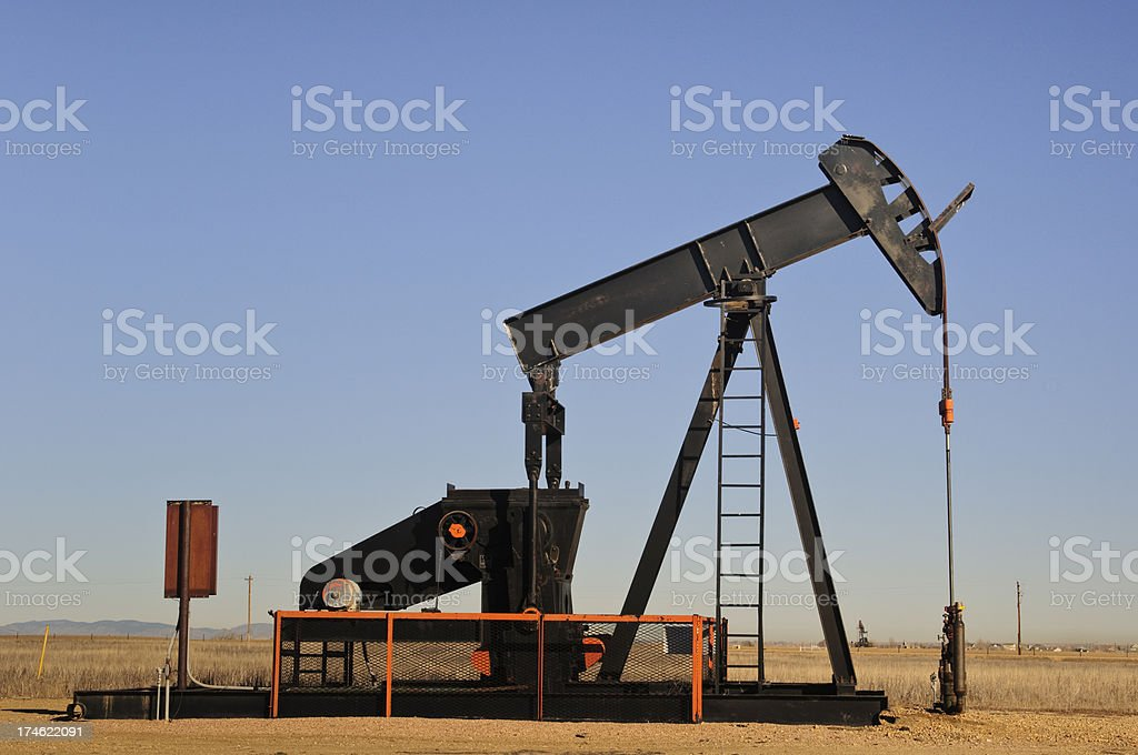 Walking Beam Oil Pump stock photo