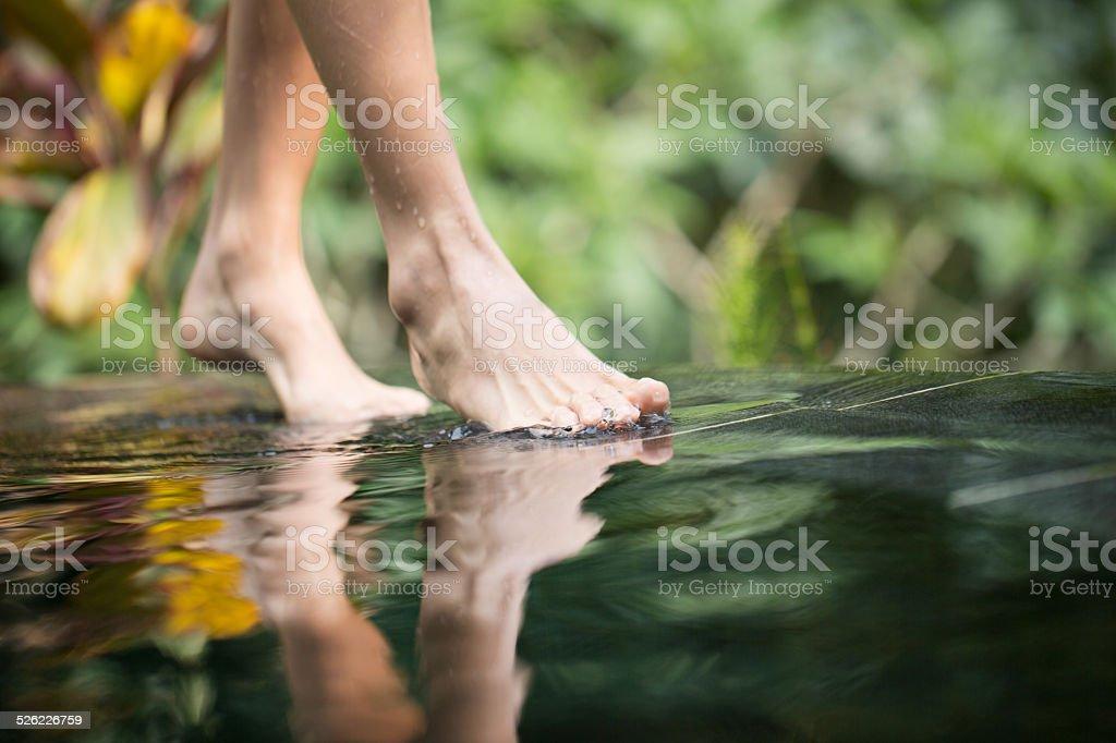 Walking beside infinity pool stock photo