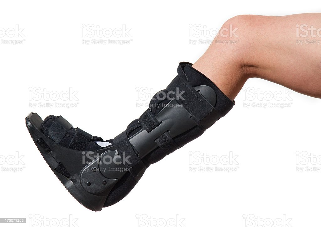Walking boot for achilles tendon treatment stock photo
