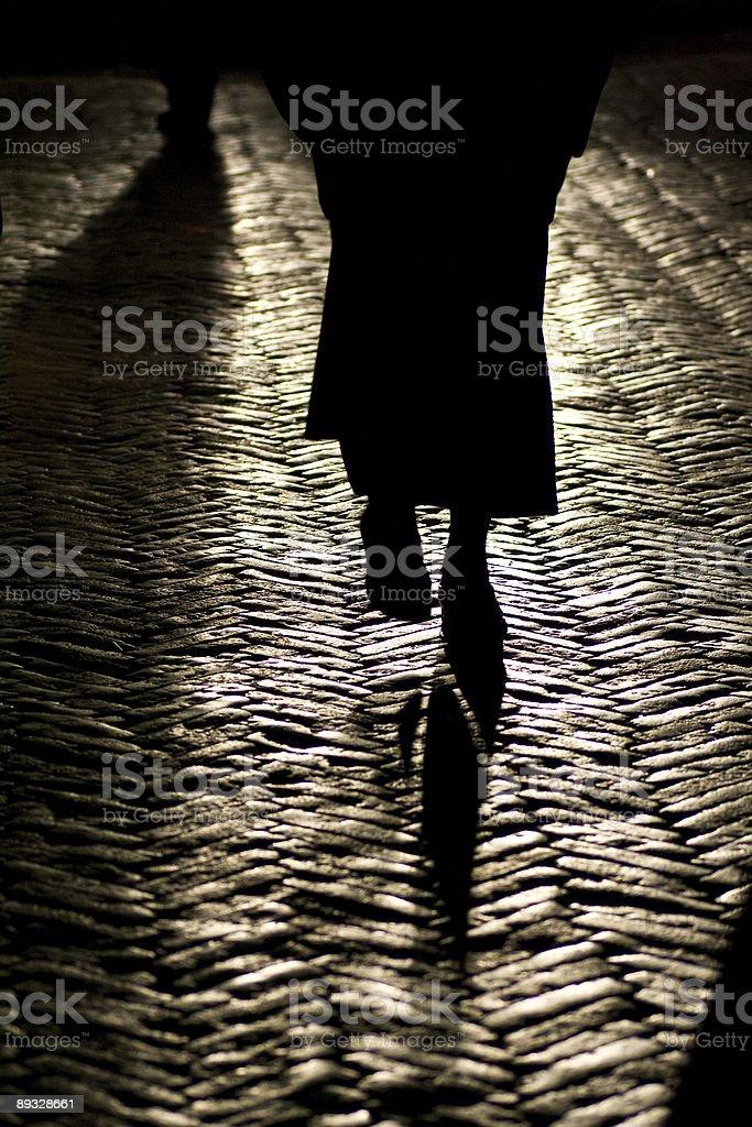 Walking by night royalty-free stock photo