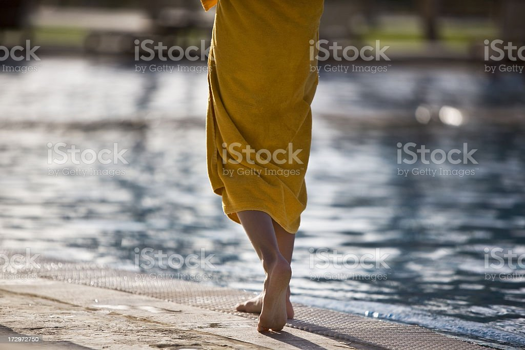 Walking By Pool royalty-free stock photo