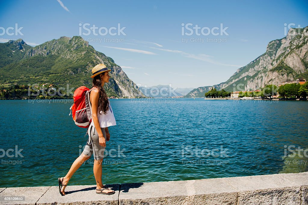 Walking by the lake. stock photo