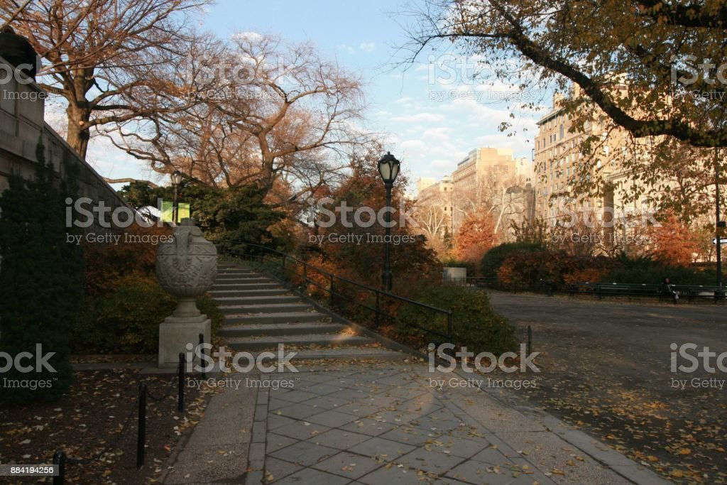 Walking clock wise around Jacqueline Kennedy reservoir in  New York City Central Park stock photo