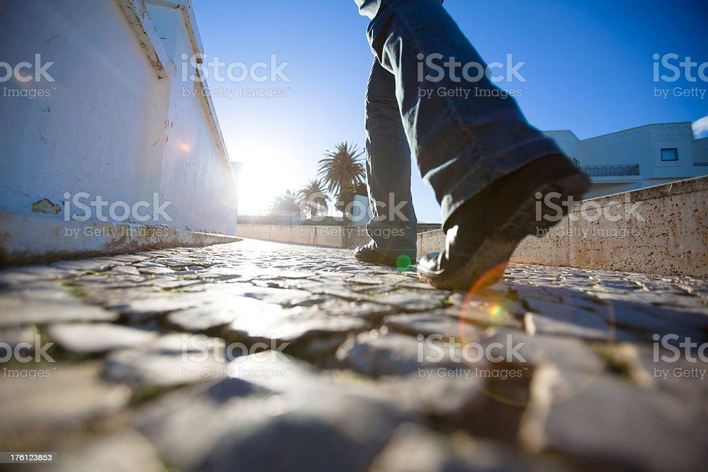 Walking cobbleston streets stock photo