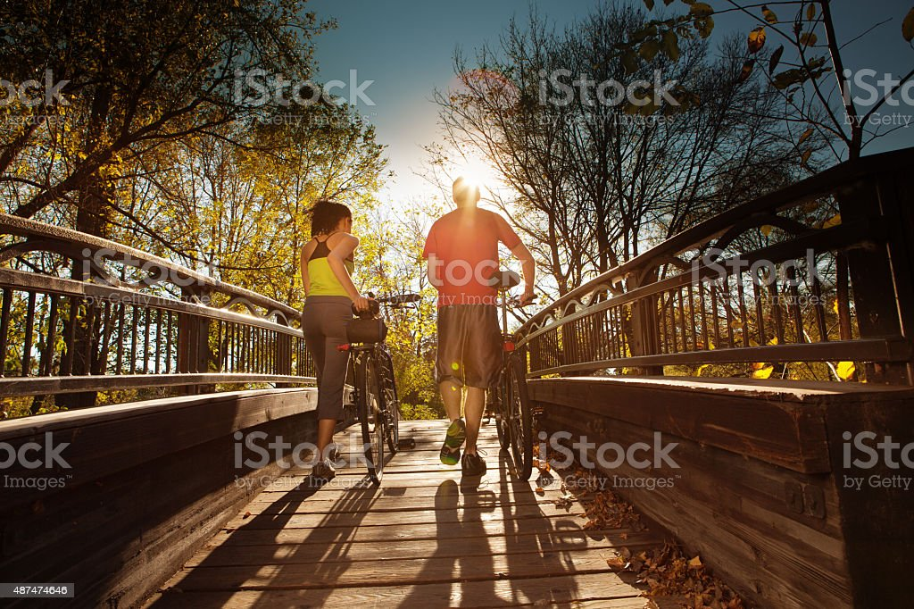 Walking Couple Exercising for Healthy Living stock photo