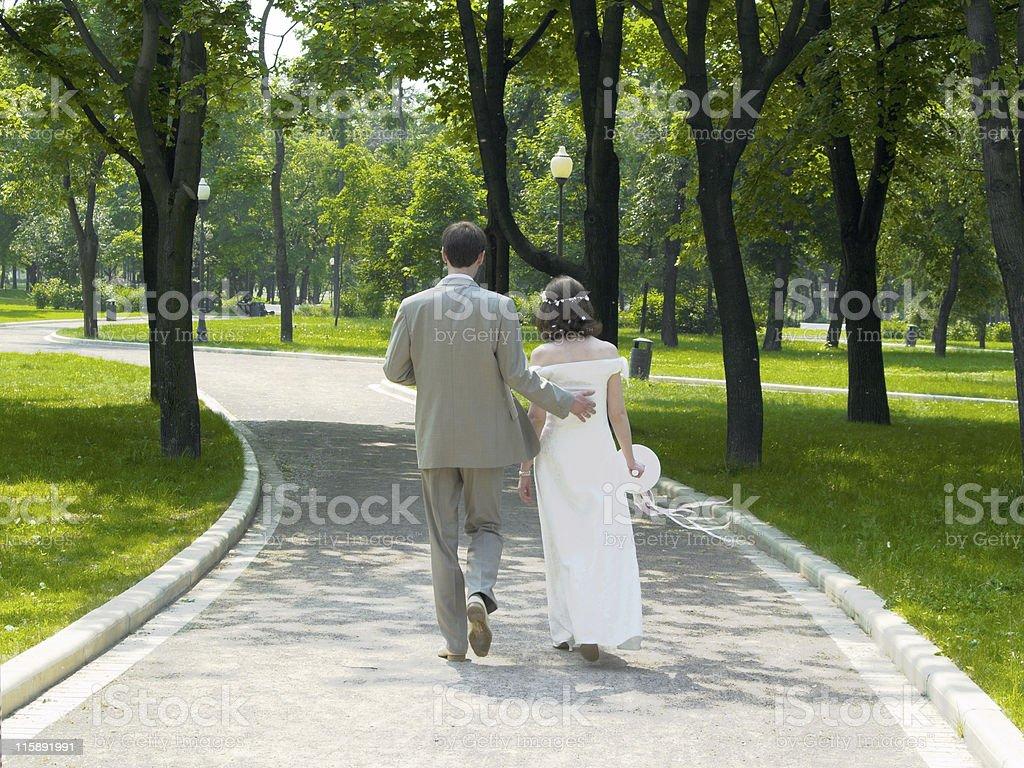 Walking couple stock photo
