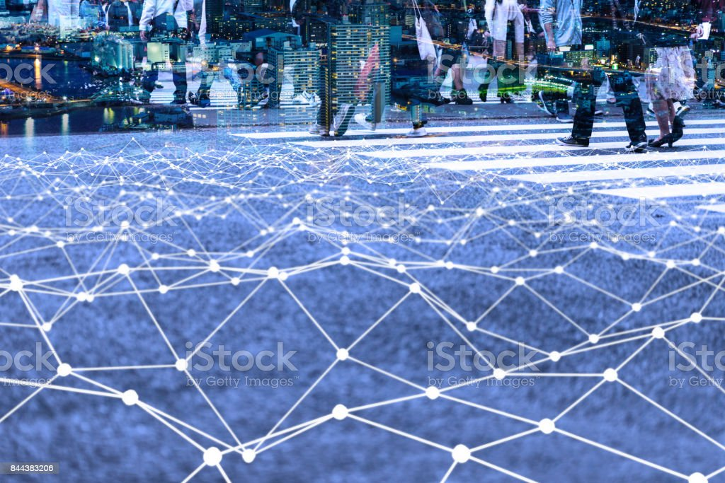 Walking crowd and mesh communication network concept. Internet of Things. Smart city. Information Communication Technology. stock photo