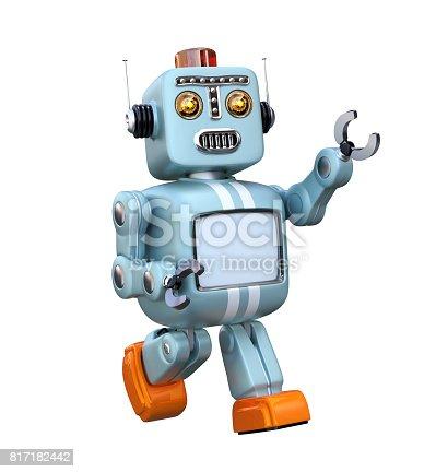 678279896 istock photo Walking cute retro robot isolated on white background 817182442