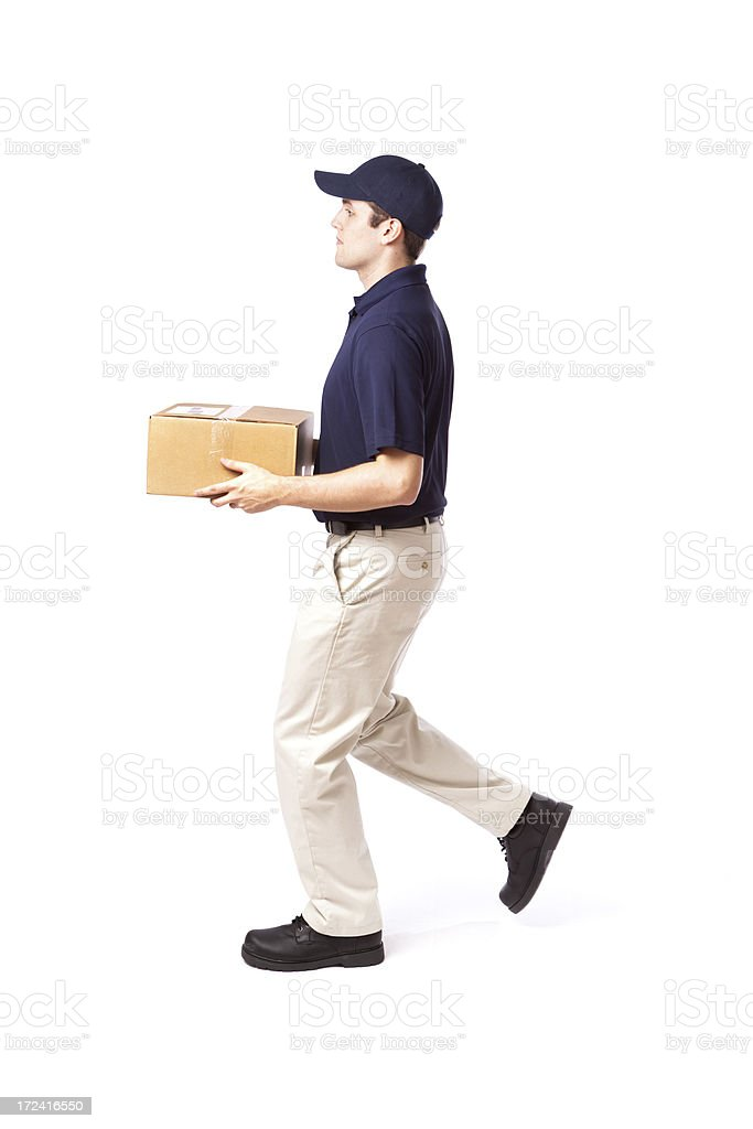 Walking Delivery Man in Action Delivering Package on White royalty-free stock photo