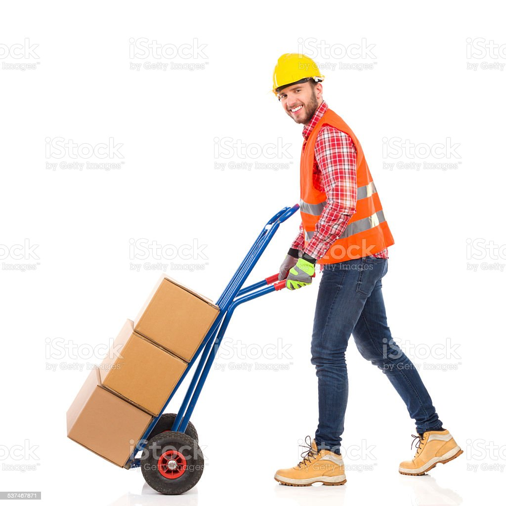 Walking delivery person stock photo