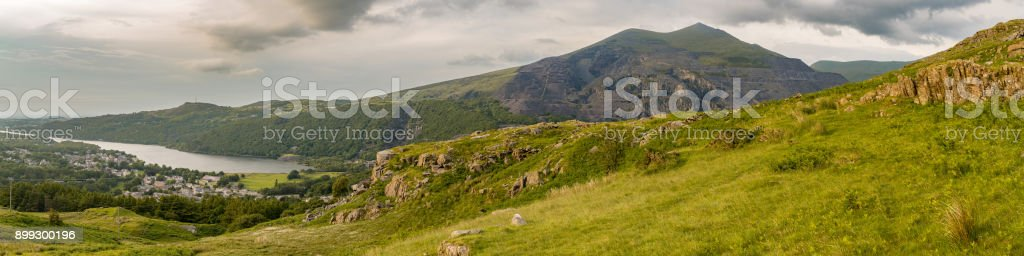 Walking down from Mount Snowdon, Wales, UK stock photo
