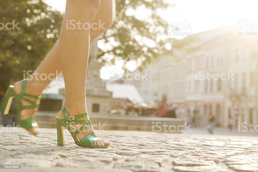 Walking down the cobblestone street. royalty-free stock photo