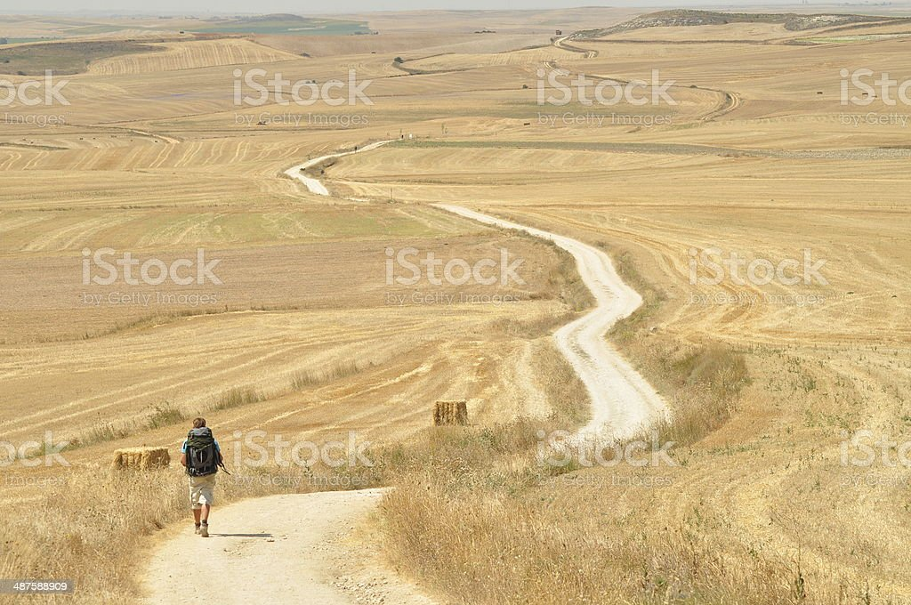 Walking during pilgrimage Cammino de Santiago de Compostela stock photo