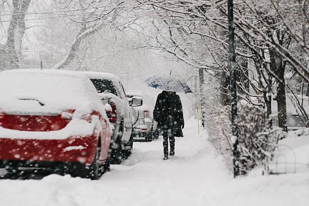 Walking during snow fall