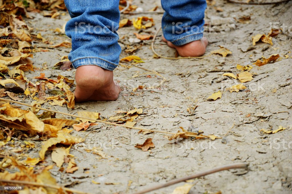 walking feet in the nature stock photo