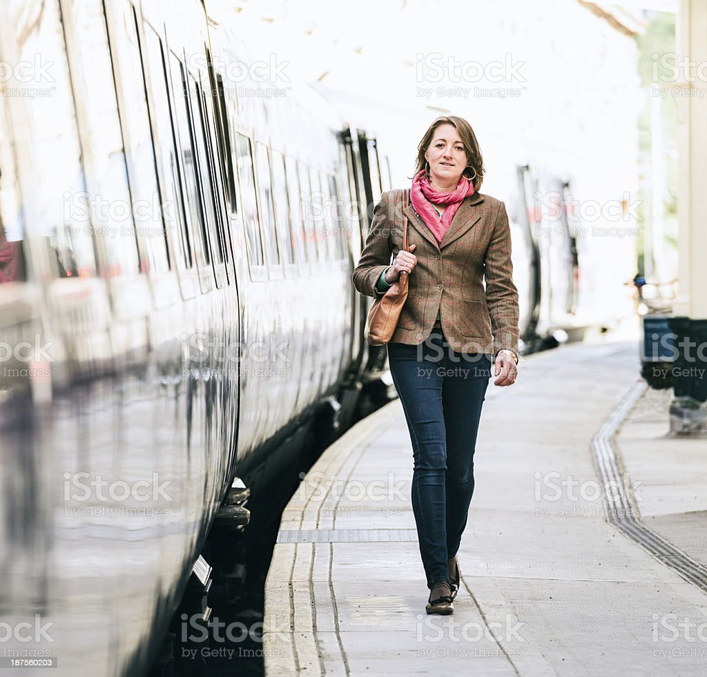 Walking from the train royalty-free stock photo
