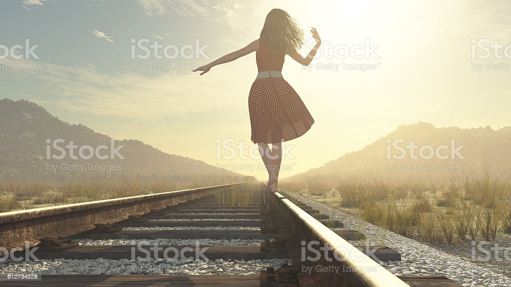 Walking girl on the railway royalty-free stock photo
