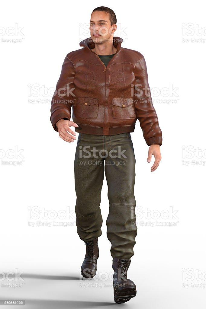 Walking handsome man stock photo