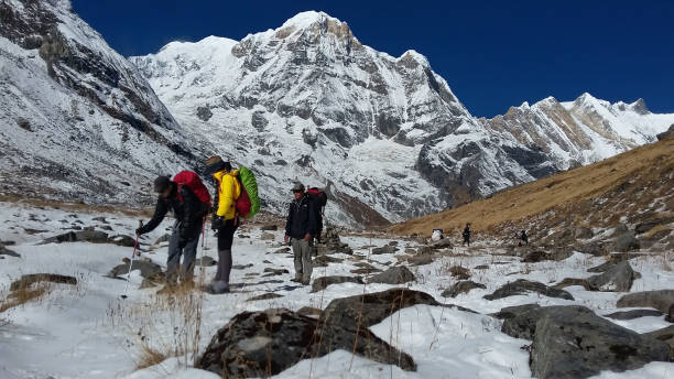 walking in annapurna stock photo