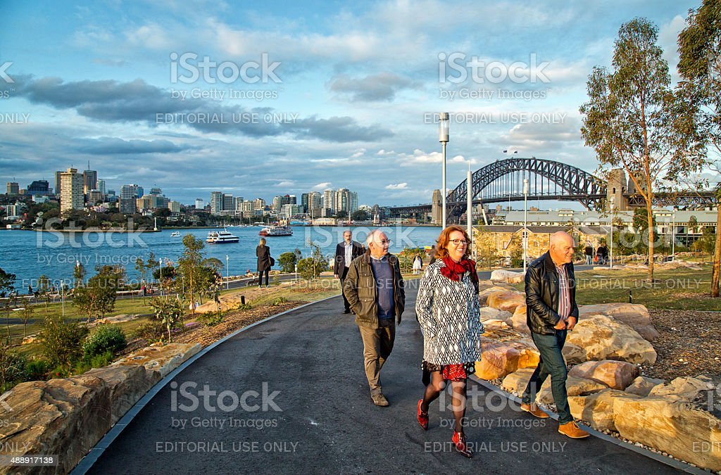 Walking in Barangaroo Reserve - new parkland on Sydney Harbour stock photo