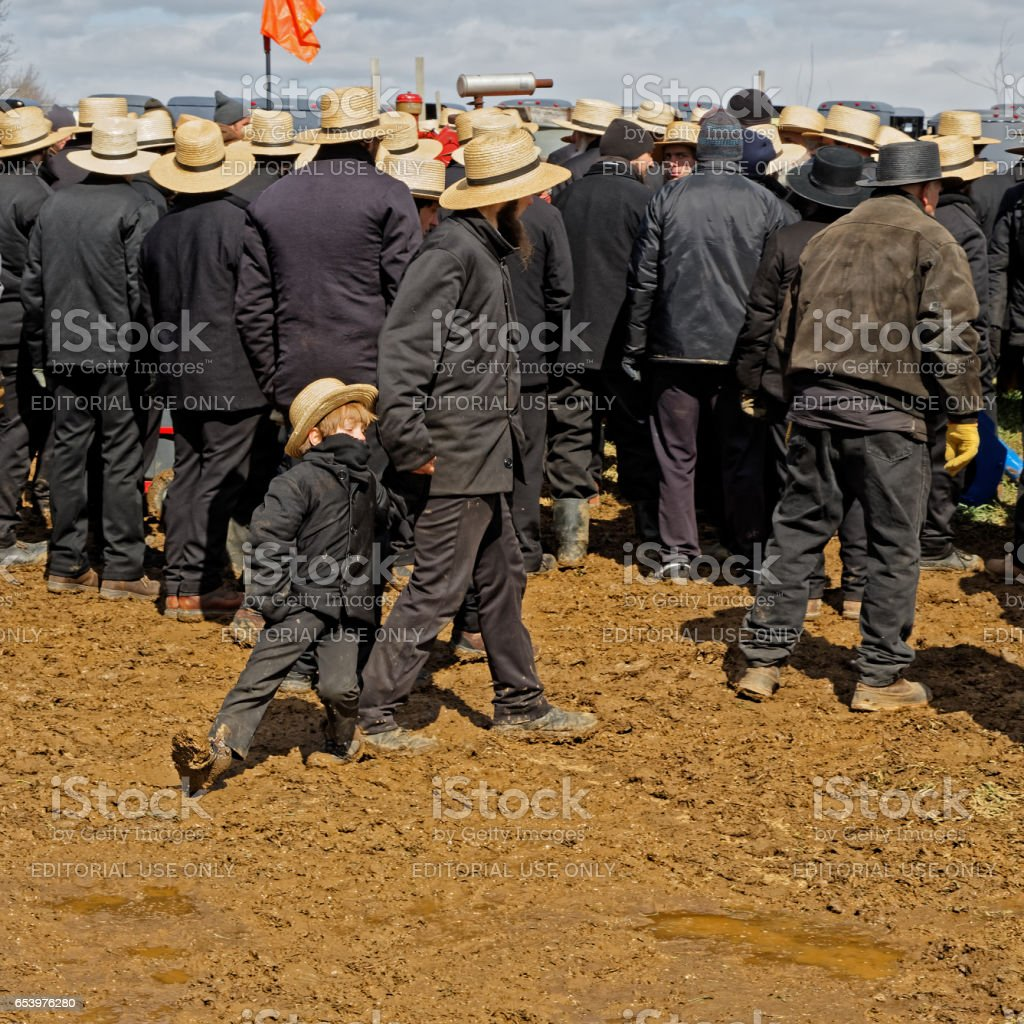 Walking in Deep Mud at a Lancaster County Auction stock photo