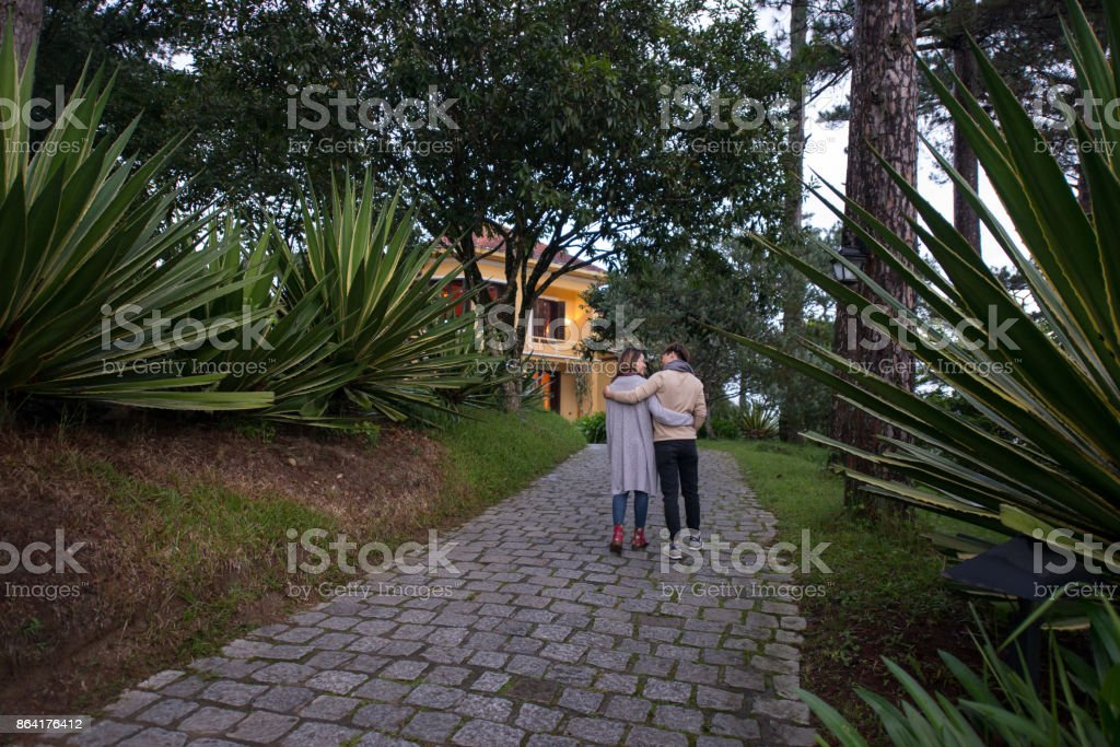 Walking in evening park royalty-free stock photo