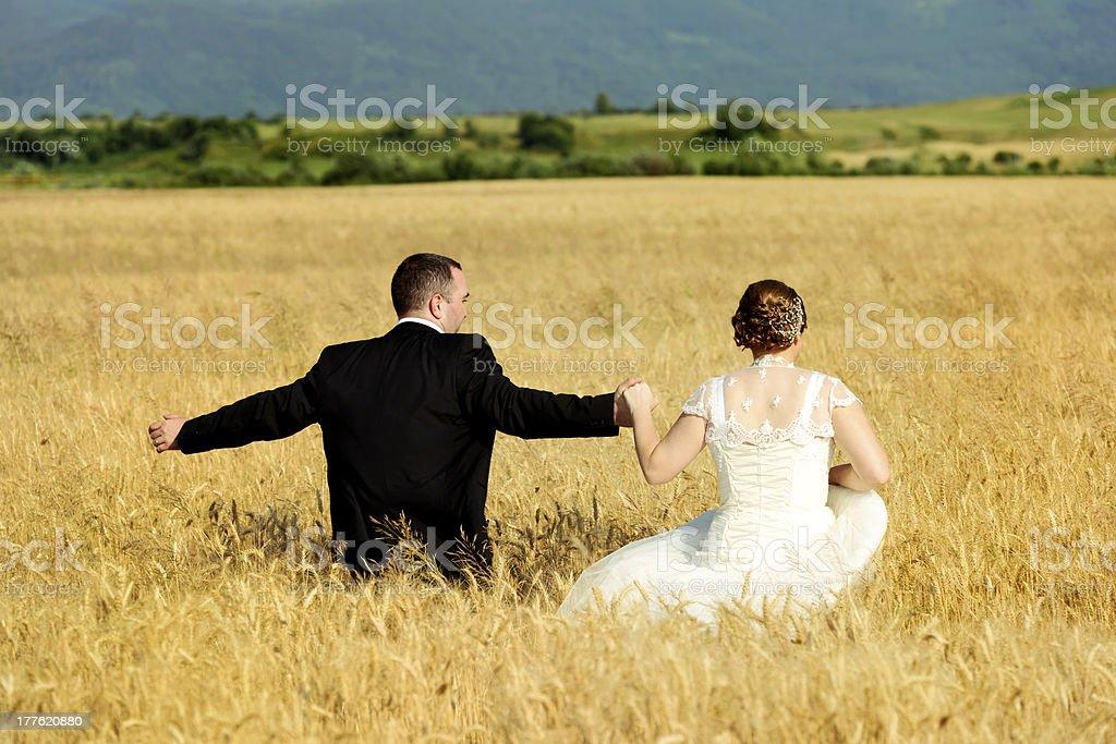 walking in field royalty-free stock photo