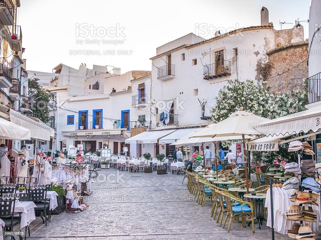 Walking in Ibiza old town stock photo