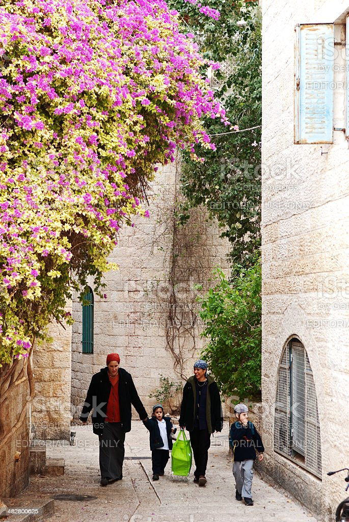 Walking in Jerusalem when Spring arrives. stock photo