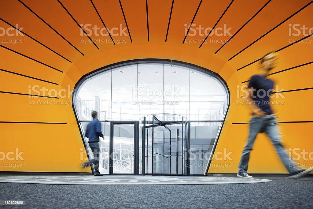 walking in modern architecture stock photo