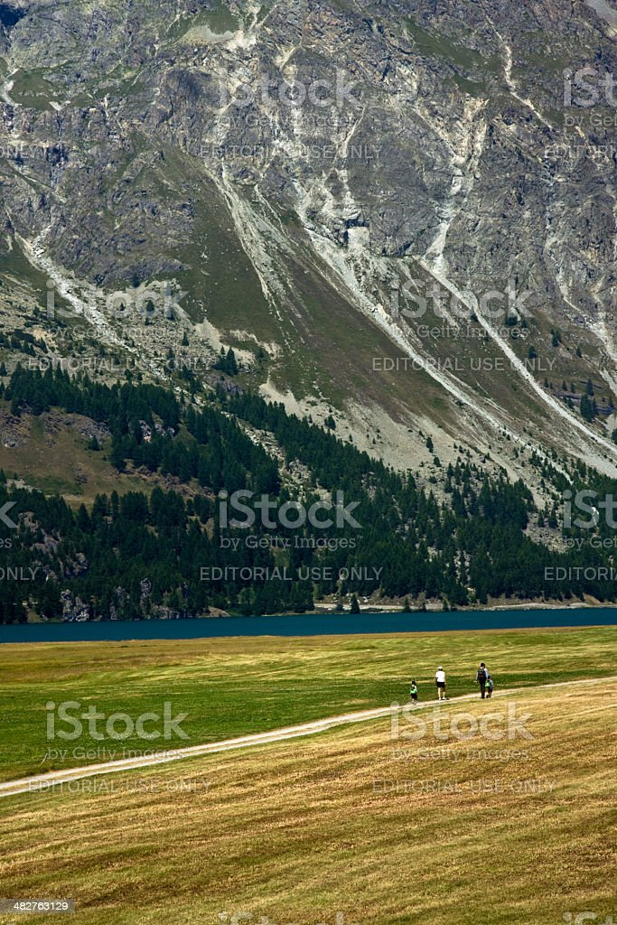Walking in nature around Lake Sils (Switzerland) royalty-free stock photo