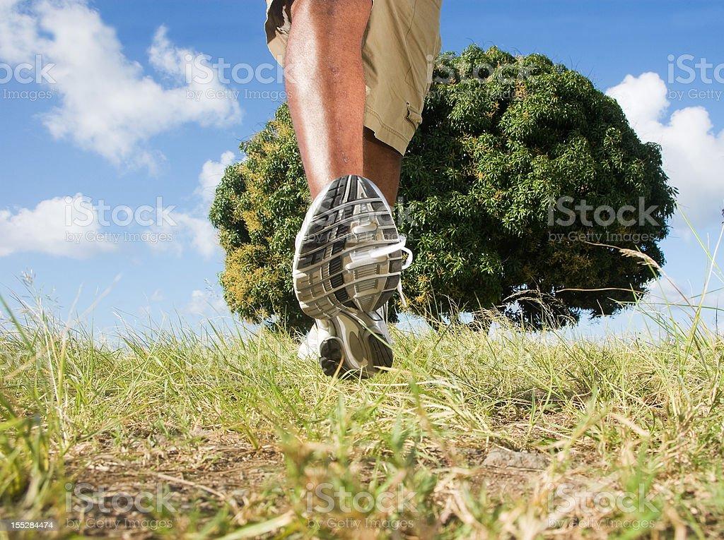 walking in open field royalty-free stock photo