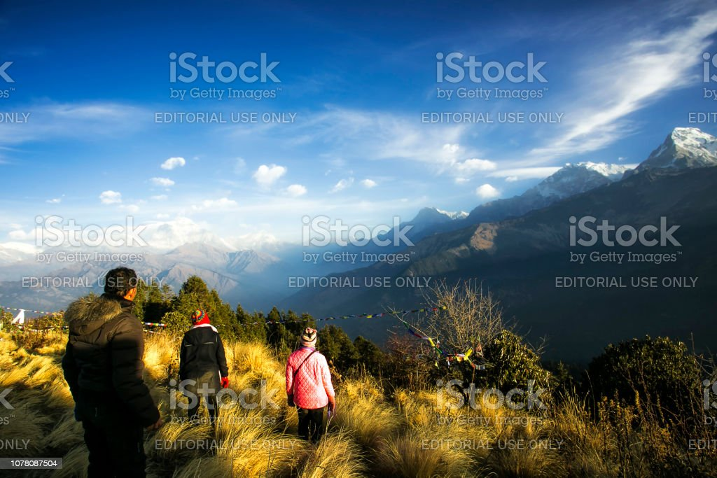walking in poon hill, annapurna stock photo