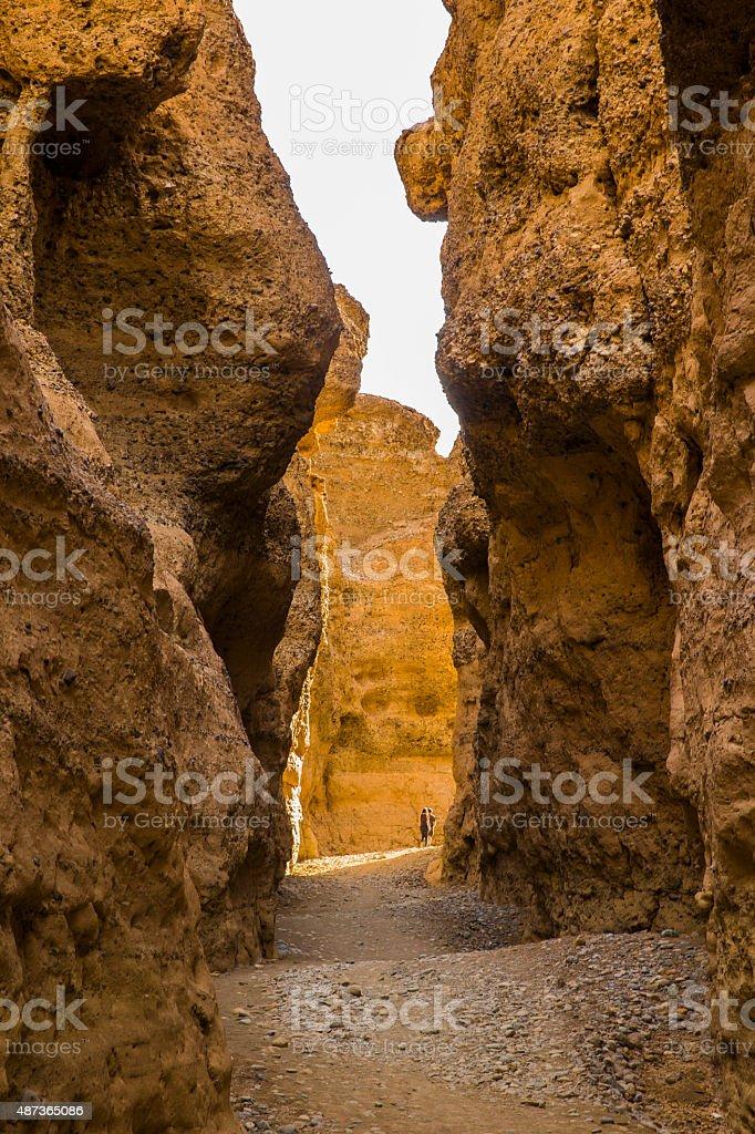 walking in Sesriem Canyon, Sossusvlei, Namib Desert stock photo