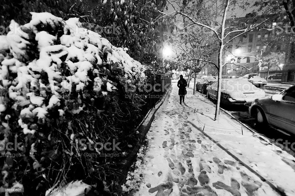 Walking in Snow Covered Manhattan New-York Street royalty-free stock photo