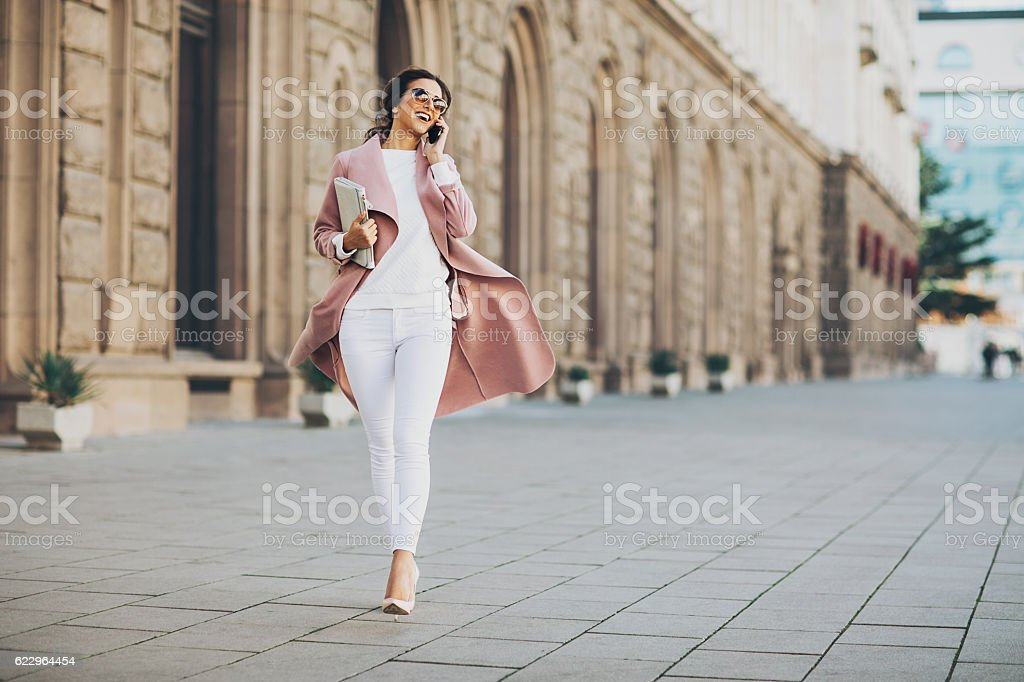 Walking in style stock photo