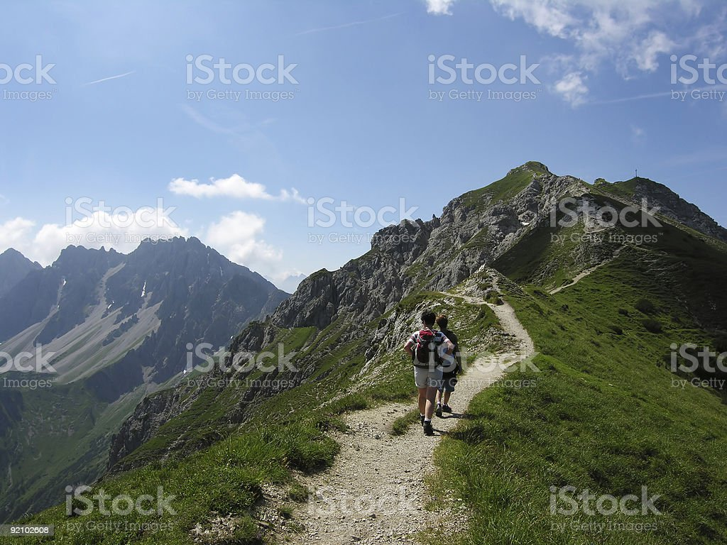 Walking in the Alps royalty-free stock photo