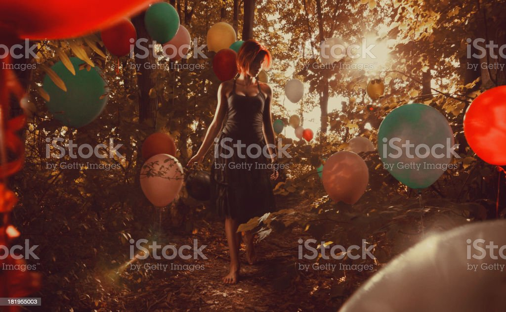 Walking in the balloon woods stock photo