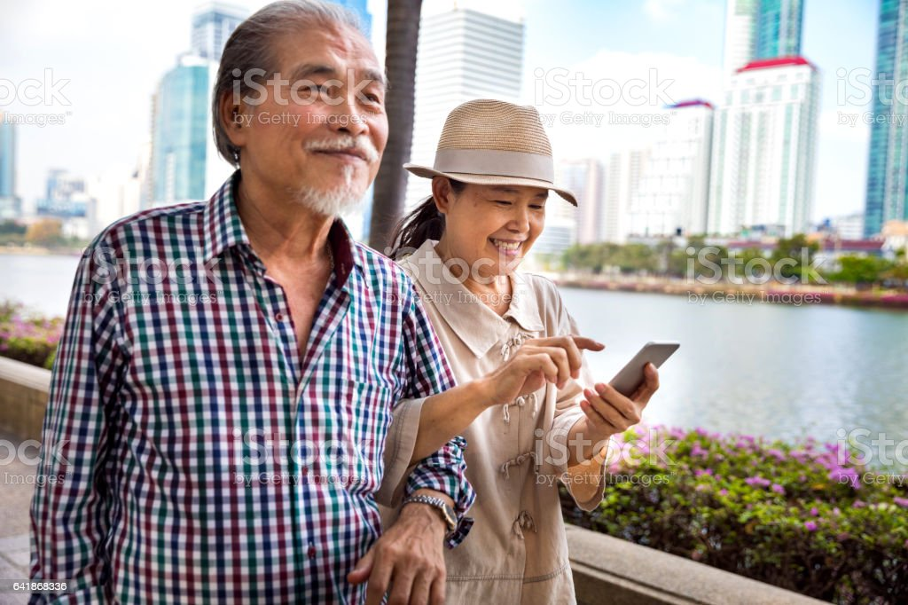 Walking in the city always connected stock photo