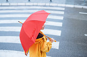 Girl with umbrella walking in the city.