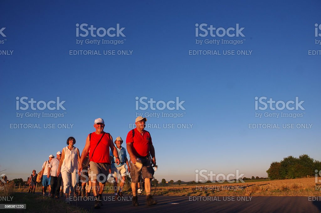 Walking in the evening sun royalty-free stock photo