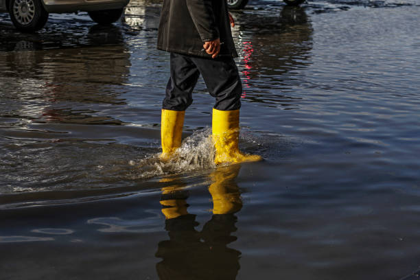 Walking In The Floodwater stock photo