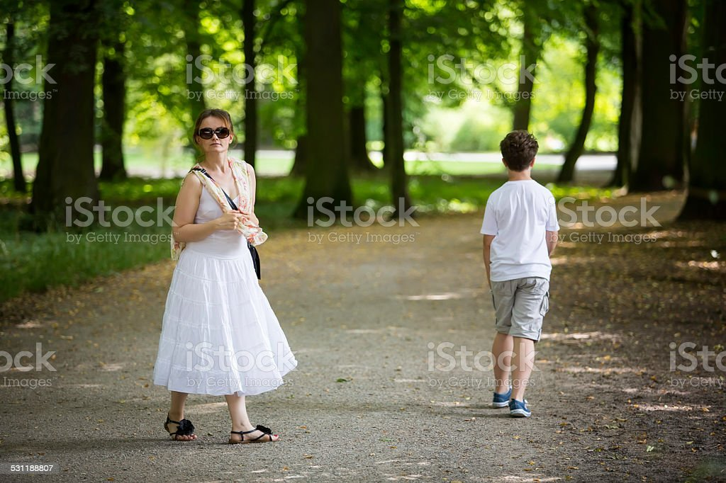 walking in the park royalty-free stock photo