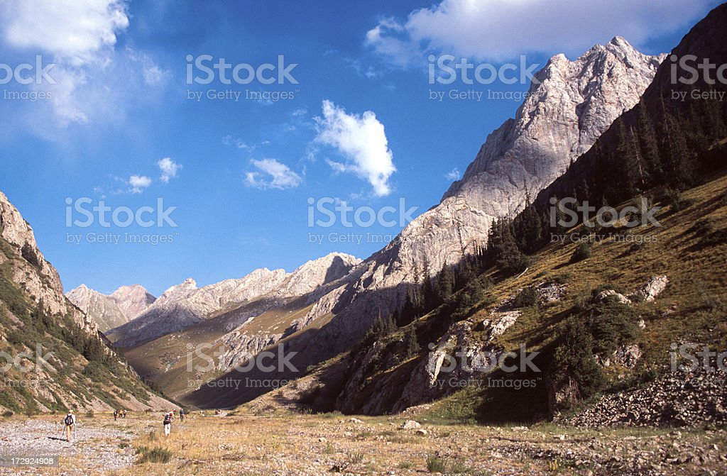Walking in the Tien Shan mountains stock photo