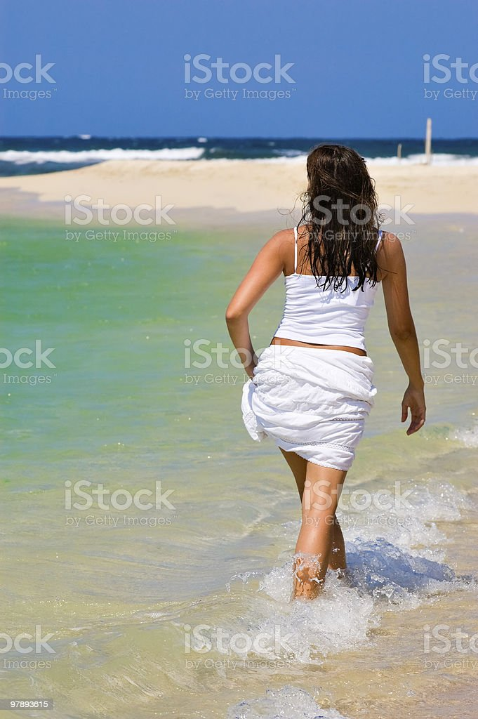 Walking in the water royalty-free stock photo