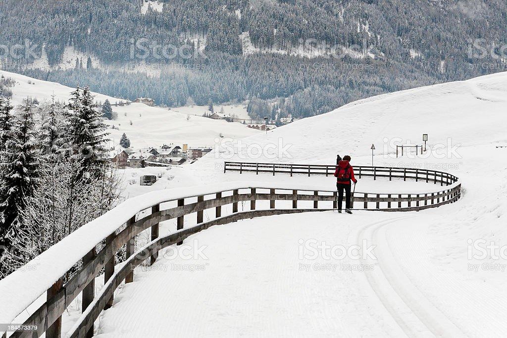Walking in Val di Fassa, Italy royalty-free stock photo