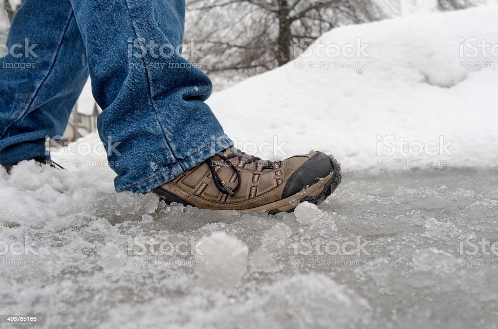 walking in winter slush and snow stock photo