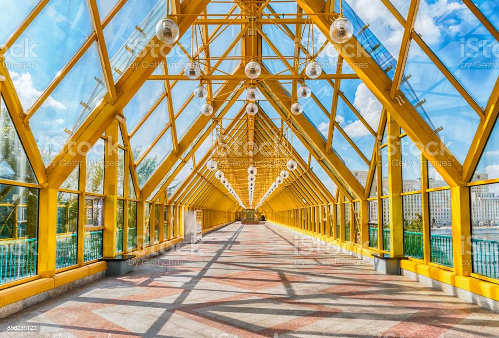 Walking inside Pushkinsky Pedestrian Covered Bridge in central Moscow, Russia stock photo
