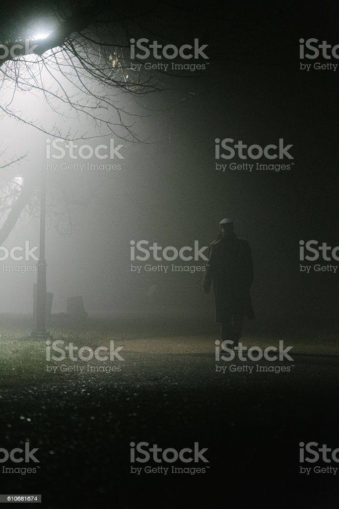 Walking into the unknown stock photo