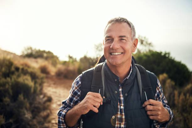 Walking is a man's best medicine stock photo